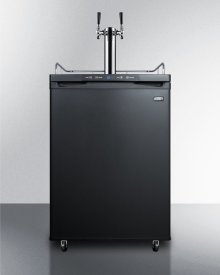 Freestanding Residential Beer Dispenser, Auto Defrost With Digital Thermostat, Black Exterior Finish, and Dual Tap System