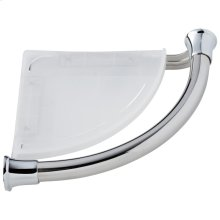Chrome Transitional Corner Shelf with Assist Bar