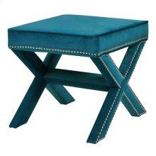 Marguerite Velvet Nailhead Stool, Mozart Blue