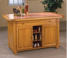 Sunset Trading Light Oak Finish Kitchen Island with Terracota Tile Top