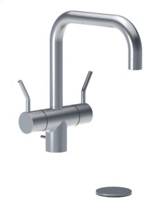 "Two-handle vented mixer with medium lever and 1/4 turn ceramic disc technology, double swivel spout with M22 aerator, with pop-up waste 1 1/4"" - Grey"