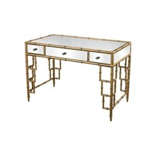 MIRROR TOP DESK WITH BAMBOO FRAME IN GOLD LEAF