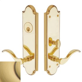 Satin Brass and Brown Boulder Escutcheon Entrance Set