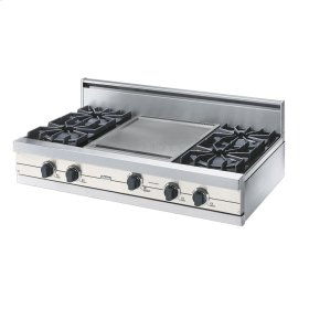 "Cotton White 42"" Open Burner Rangetop - VGRT (42"" wide, four burners 18"" wide griddle/simmer plate)"