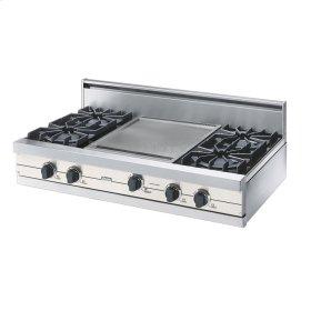 "Cotton White 42"" Open Burner Rangetop - VGRT (42"" wide, four burners 18"" wide griddle/simmer plate)"