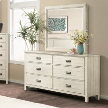 Aberdeen - Six Drawer Dresser - Weathered Worn White Finish