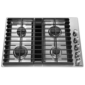 "KitchenAid30"" 4 Burner Gas Downdraft Cooktop - Stainless Steel"