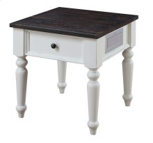 End Table W/fixed Drawer Front-antique White Base & Brn Rustic Plank Top Rta