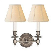 Visual Comfort S2112AN-L Studio French Library 2 Light 13 inch Antique Nickel Decorative Wall Light in Linen