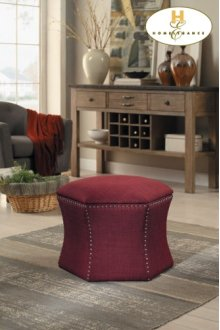 2-Piece Storage Ottoman Set, Red