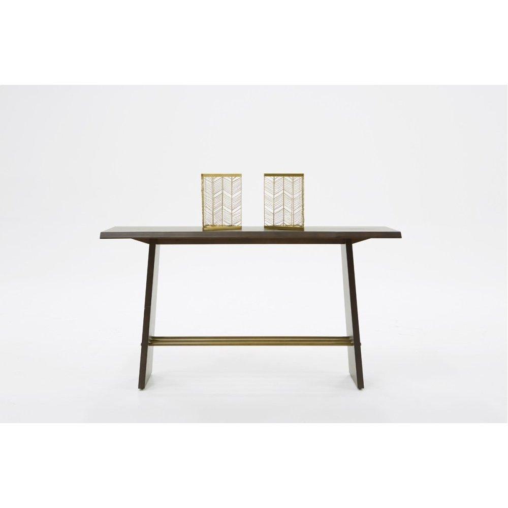 Modrest Selena Modern Acacia & Brass Console Table