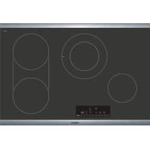"""800 Series 30"""" Touch Control Electric Cooktop, NET8068SUC, Black with Stainless Steel Frame"""