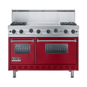 """Apple Red 48"""" Sealed Burner Range - VGIC (48"""" wide, four burners 24"""" wide griddle/simmer plate)"""
