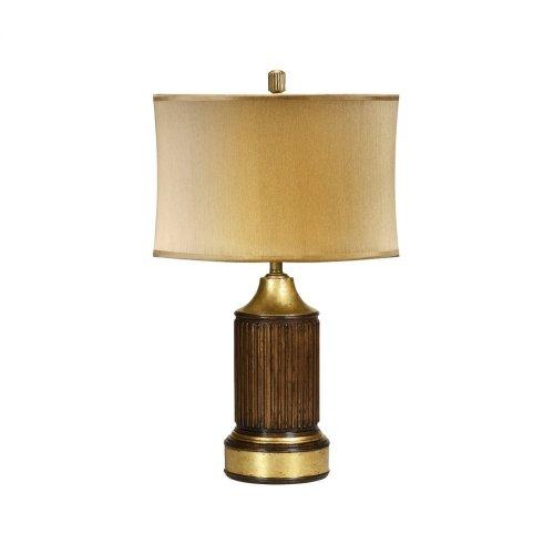 Round Fluted Mahogany Table Lamp