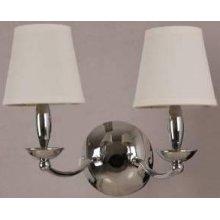 2-lite Wall Lamp, Chrome/white Fabric Shade, E12 B 40wx2