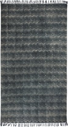 9'x12' Size Tribal Chevron Print Black & White Rug