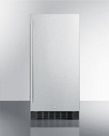 "15"" Wide Built-in Outdoor Refrigerator With Black Cabinet, Stainless Steel Door, and Lock"