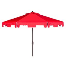 Uv Resistant Zimmerman 9 Ft Crank Market Auto Tilt Umbrella With Flap - Red / White