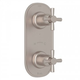 """Satin Nickel Perrin & Rowe Holborn 1/2"""" Thermostatic/Diverter Control Trim with Holborn Cross Handle"""