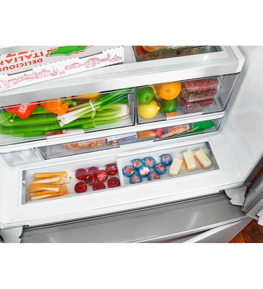 Whirlpool(r) 36 Inch Wide French Door Refrigerator With Infinity Slide  Shelf   32 Cu. Ft.   Black Ice
