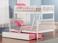 Woodland Bunk Bed Twin over Full with Urban Trundle Bed in White