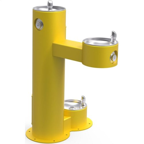 Elkay Outdoor Fountain Bi-Level Pedestal with Pet Station, Non-Filtered Non-Refrigerated, Freeze Resistant, Yellow