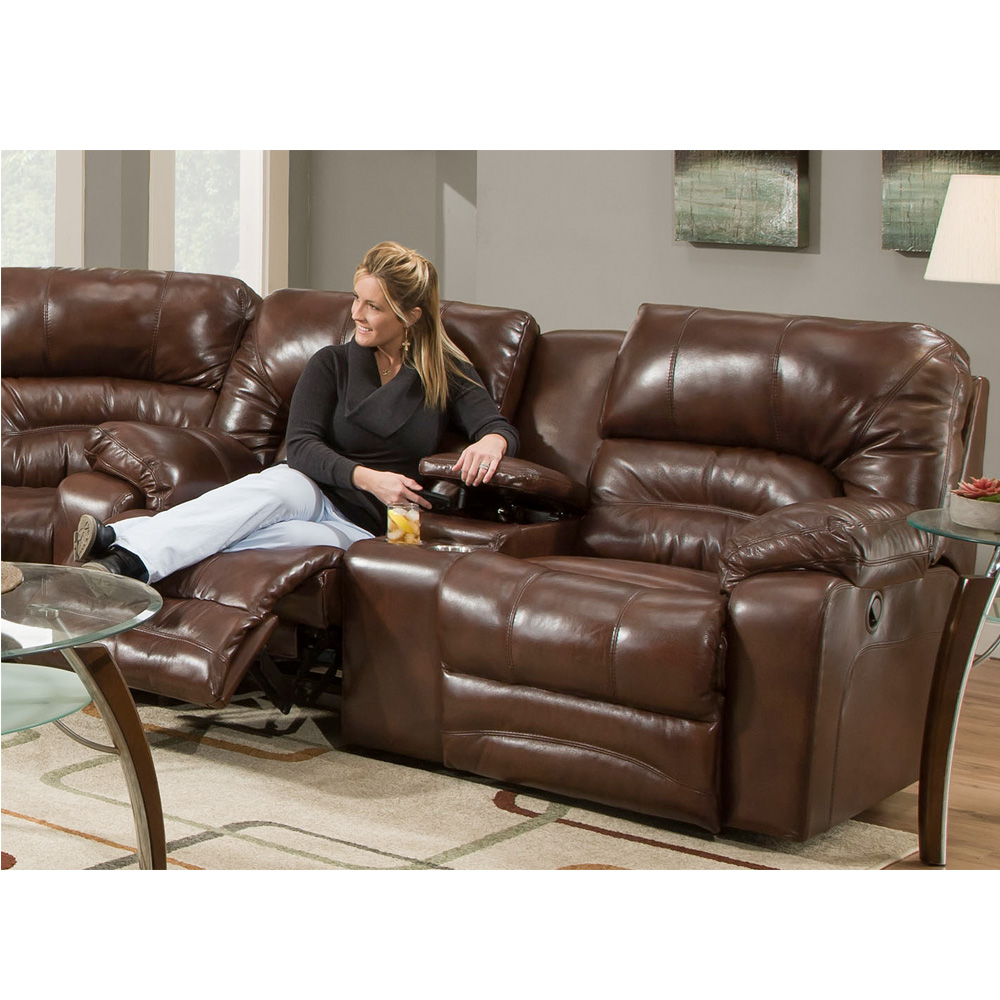 Reclining Sofa W/Drop Down Table U0026 Lights