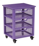 Clayton 3 Drawer Rolling Cart In Purple Metal Finish Frame, Fully Assembled. Product Image