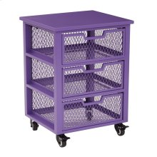 Clayton 3 Drawer Rolling Cart In Purple Metal Finish Frame, Fully Assembled.