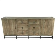 Bengal Manor Iron Base and Acacia Wood 2 Door 6 Drawer Large Sideboard