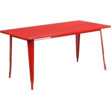 31.5'' x 63'' Rectangular Red Metal Indoor-Outdoor Table