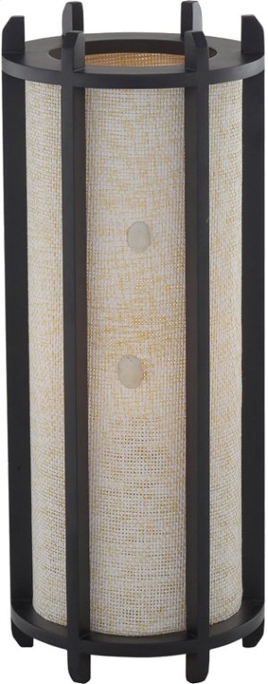 Table Lamp, Dark Walnut, Fabric Shade W/shell, E27 Cfl 11w