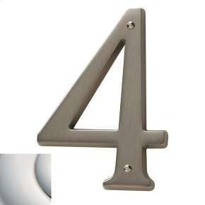 Polished Nickel with Lifetime Finish House Number - 4