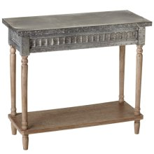 Galvanized Console Table with Greywash Legs & Shelf.