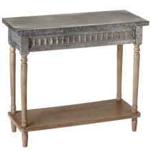 Galvanized Console Table with Greywash Legs & Shelf