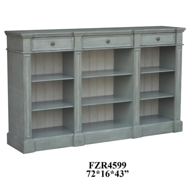 Bedford 3 Drawer Mint Green And White Bookshelf Console Hidden