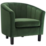 Prospect Channel Tufted Upholstered Velvet Armchair in Emerald Product Image