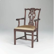 CARVED REGENCY MAHOGANY FINISH CHIPPENDALE STRAIGHT LEG ARMC HAIR, NEUTRAL UPHOLSTERY