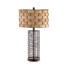 Faber Table Lamp In Bronze With Woven Birch Strip Shade