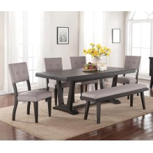 6 PC Dining - Dining Table, 4 Chairs and Bench