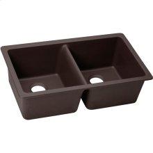 "Elkay Quartz Luxe 33"" x 18-1/2"" x 9-1/2"", Equal Double Bowl Undermount Sink, Chestnut"
