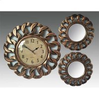 ANTIQUE COPPER 3PC. CLOCK AND MIRROR SET Product Image