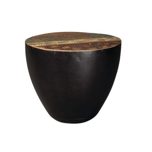 Industrial Round Black Iron End Table