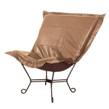 Scroll Puff Chair Avanti Bronze Mahogany Frame