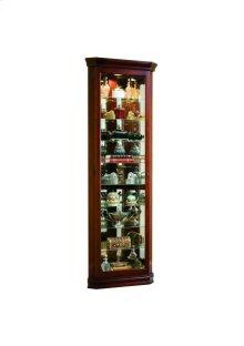 Lighted 8 Shelf Corner Curio Cabinet in Victorian Brown