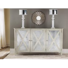 Mirrored 3 Door Cabinet-antique White, Antiqued Mirror. Weathered Solids With Antique White Paint.