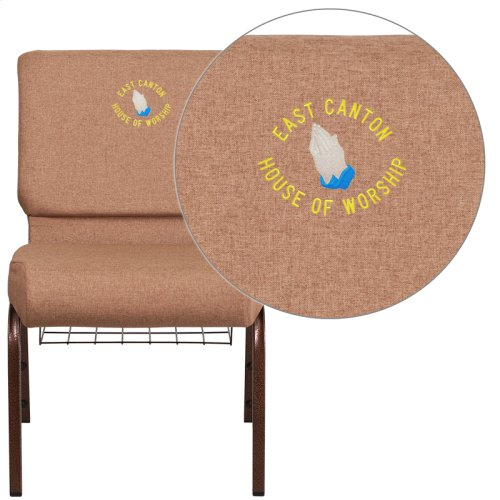 Embroidered HERCULES Series 21'' Wide Caramel Fabric Church Chair with 4'' Thick Seat, Cup Book Rack - Copper Vein Frame