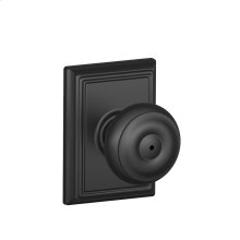 Georgian Knob with Addison trim Bed & Bath Lock - Matte Black