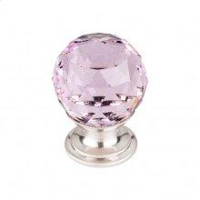 Pink Crystal Knob 1 1/8 Inch - Brushed Satin Nickel