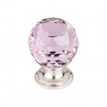 Pink Crystal Knob 1 1/8 Inch - Brushed Satin Nickel